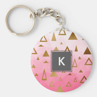 Goldgeometrische Dreieck-Pastellrosa Brushstrokes Standard Runder Schlüsselanhänger