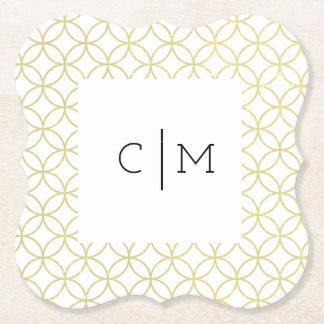 Goldgeometrischer Monogramm-Hochzeits-Untersetzer Untersetzer