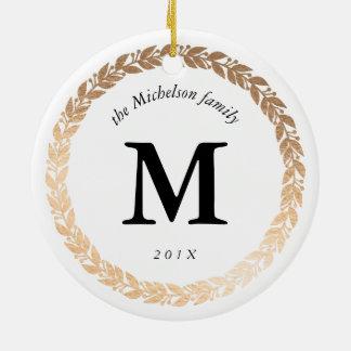 Goldgirlanden-elegantes Foto und mit Monogramm Rundes Keramik Ornament