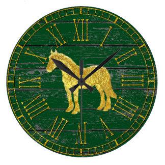 Goldglasblick-Pferd Ihr Farbe verwittertes Holz Große Wanduhr