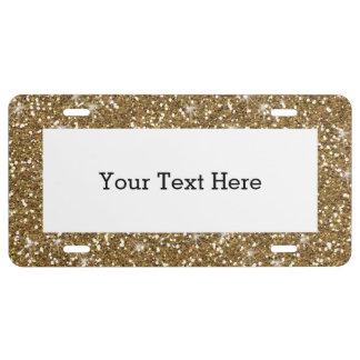 GoldGlitter gedruckt US Nummernschild