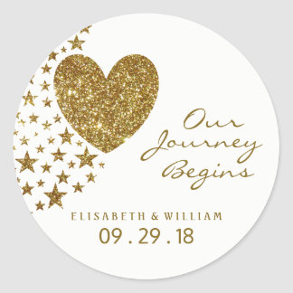 GoldGlitter-Herz und Sterne, die Wedding sind Runder Aufkleber