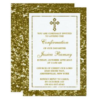 GoldGlitter-Kreuz-heilige Kommunion oder Karte