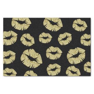 GoldGlitter-Küsse auf Schwarzem Seidenpapier