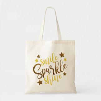 GoldGlitter-Lächeln-Scheinshine-Typografie Tragetasche
