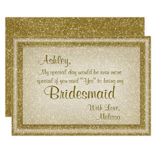 GoldGlitter sind- Sie meine Brautjungfer 12,7 X 17,8 Cm Einladungskarte