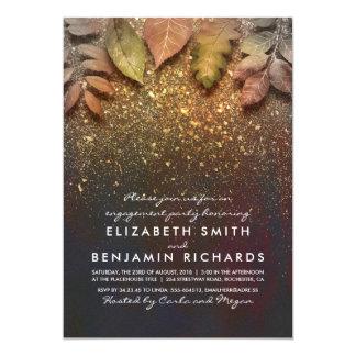 GoldGlitter-Vintages Herbstlaub-Verlobungs-Party 12,7 X 17,8 Cm Einladungskarte