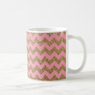 GoldGlitter-Zickzack Muster auf Rosa Tasse