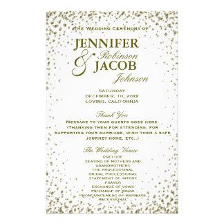GoldGlitterConfetti des Hochzeits-Programm-| Flyer