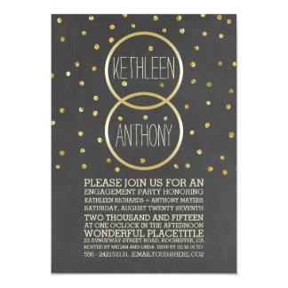GoldGlitterConfetti schellt Verlobungs-Party 12,7 X 17,8 Cm Einladungskarte