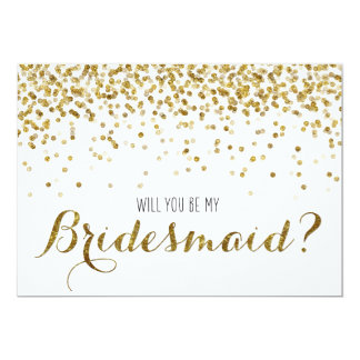 GoldGlitterConfetti sind- Sie meine Brautjungfer 12,7 X 17,8 Cm Einladungskarte