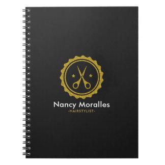 GoldGlitterhairstylist-Schere-Logo-Entwurf Spiral Notizbücher