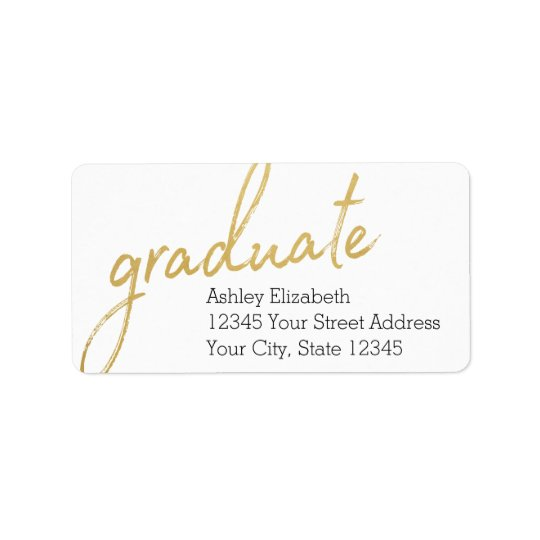 Goldgraduierte moderne Abschluss-Rücksendeadresse Adressetiketten
