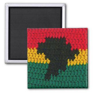 Goldgrün-Schwarz-Karten-Häkelarbeit-Druck Afrikas Quadratischer Magnet