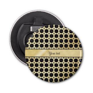 GoldImitat u. funkelnd schwarze Glitter-Stellen Flaschenöffner