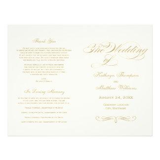 GoldKalligraphie-Entwurf der Hochzeits-Programm-| Flyer