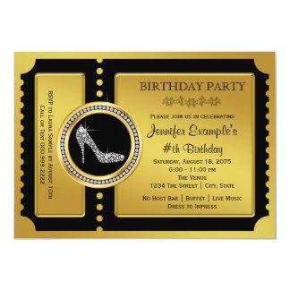 Goldkarten-hohe Fersen-Schuh-Geburtstags-Party 12,7 X 17,8 Cm Einladungskarte