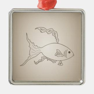 Goldkleine Fische Silbernes Ornament