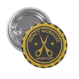 Goldkreis u. Scherenhairstylist-Logo Runder Button 3,2 Cm