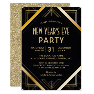 Goldkunst-Deko Gatsby Silvester-Party laden ein Karte