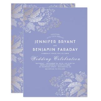 Goldlaub-Lavendel-lila elegante Hochzeit 12,7 X 17,8 Cm Einladungskarte