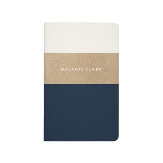 Goldleder- und -marineblau taschennotizbuch