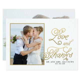 GoldLiebe-Dank-Skript-Foto-Hochzeit danken Ihnen 12,7 X 17,8 Cm Einladungskarte
