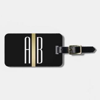 Goldlinie Monogramm-Schwarz-Gepäckanhänger Koffer Anhänger
