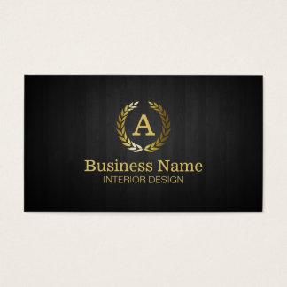 Goldlorbeer-Kranz-Monogramm-Innenarchitektur Visitenkarten