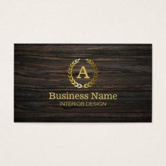 Goldmonogramm-dunkle hölzerne Innenarchitektur Visitenkarte