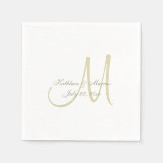 Goldmonogramm-Hochzeit Servietten