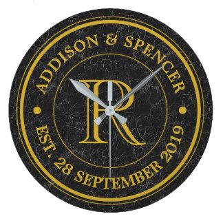 Goldmonogramm-Schwarz-Leder-Hochzeitstag Uhr
