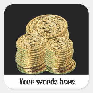 Goldmünzen oder Zeichen, die kundengerechten Quadratischer Aufkleber