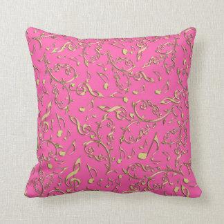 GoldMusiknoten auf heißem Rosa oder Ihrer Farbe Kissen