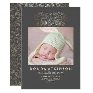Goldneugeborene Baby-Foto-Geburts-mit 12,7 X 17,8 Cm Einladungskarte