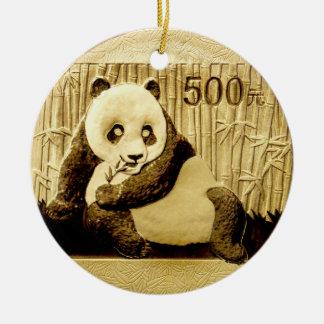 Goldpandamünze Rundes Keramik Ornament