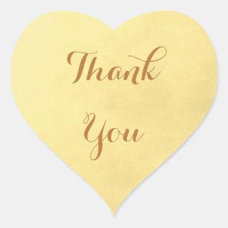Goldpergament danken Ihnen Herz-Aufkleber