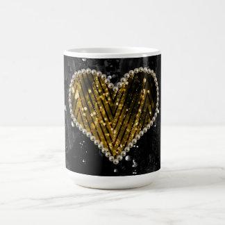 Goldperlen-Herz Kaffeetasse
