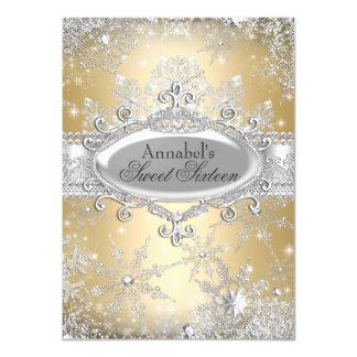 Goldprinzessin Winter Wonderland Sweet 16 laden 11,4 X 15,9 Cm Einladungskarte