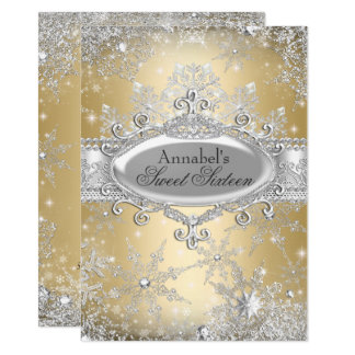 Goldprinzessin Winter Wonderland Sweet 16 laden Karte
