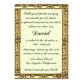 Goldrahmen-Bar/Schläger Mitzvah Einladungen