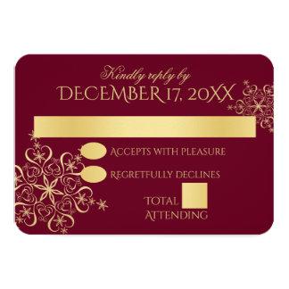Goldschneeflocke-Winter-Hochzeits-Antwort 8,9 X 12,7 Cm Einladungskarte