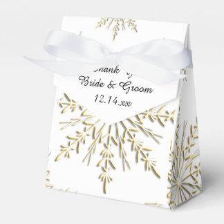 Goldschneeflocken auf weißer Winter-Hochzeit Geschenkschachtel