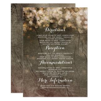Goldschnur beleuchtet rustikale Hochzeits-Details Karte