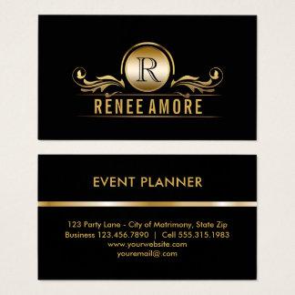 Goldschwarz-Monogramm des Event-Planer-| elegantes Visitenkarten
