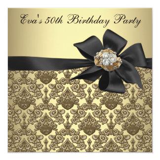 Goldschwarzer Damast-50. Geburtstags-Party Karte