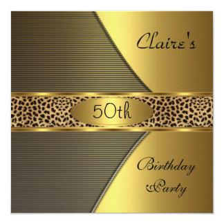 Goldschwarzer Leopard laden 50. Geburtstags-Party Einladungen