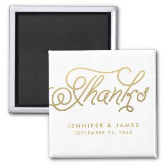 Goldskript-Gastgeschenk Hochzeit danken Ihnen Quadratischer Magnet