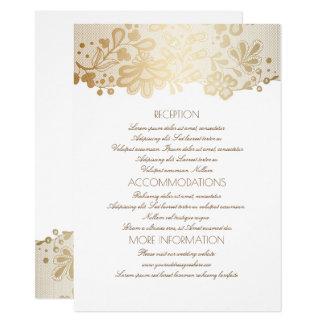 Goldspitze-elegante weiße Hochzeits-Informationen Karte