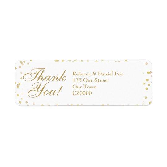 Goldstaubconfetti-Hochzeit danken Ihnen Rückversand-Adressaufkleber